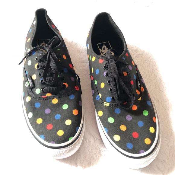 951fe4701e NWOT Black with Bright Multi Color Polka Dots Vans.  M 5a832c8b8df470d7609dba59